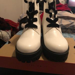 Forever 21 Shoes - Patent Leather white boots